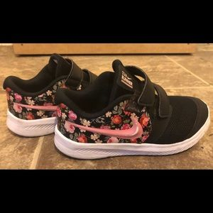 Kids Pink and Black Nike Floral Tennis Shoes